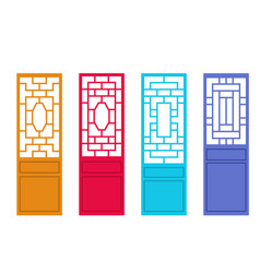 Set of chinese door in flat style design vector