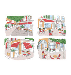 Set of colorful freehand drawings of sidewalk cafe vector