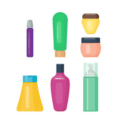 set of cosmetic tubes isolated vector image