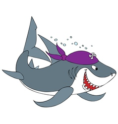 shark pirate vector image