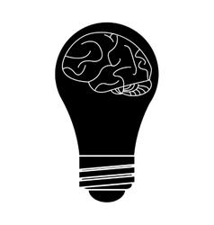 Silhouette brain idea bulb concept vector