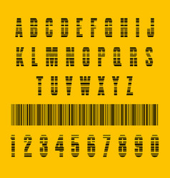 Stylish barcode typeface font stripped letters of vector