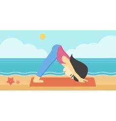 Woman practicing yoga vector