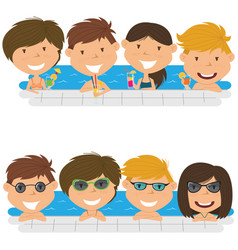 Young teens having fun in outdoor swimming pool vector