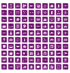 100 private property icons set grunge purple vector image vector image