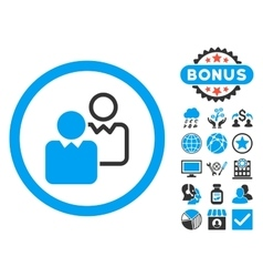 Clients flat icon with bonus vector