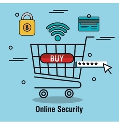 Buy cart online security password isolated vector