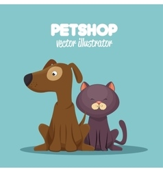 Veterinary pet shop cat and dog sitting graphic vector