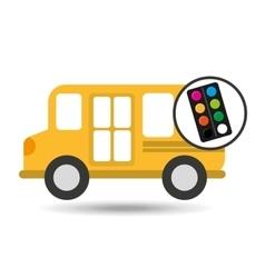Concept bus school palette colors desing vector