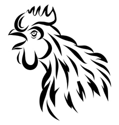 With black rooster silhouette vector
