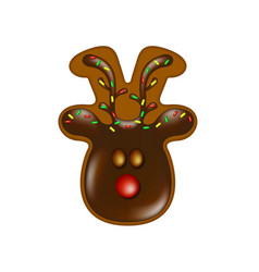 Christmas gingerbread reindeer with chocolate vector
