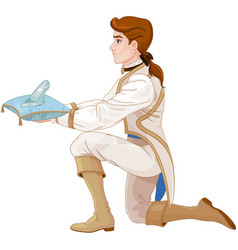 prince presents a glass slipper vector image