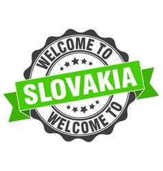 Slovakia round ribbon seal vector