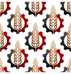 Wheat and a cog wheel seamless pattern vector