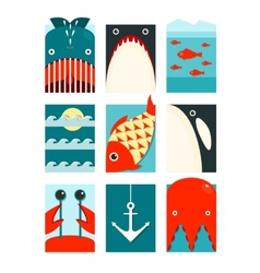 Flat sea and fish rectangular nautical set vector