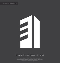 Building premium icon white on dark background vector