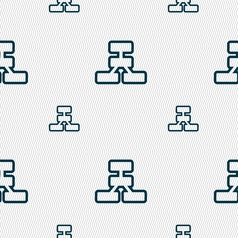 Network icon sign seamless pattern with geometric vector