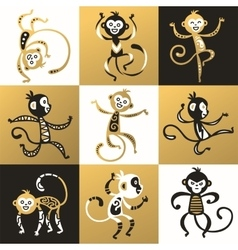 Chinese new year monkey decoration icons vector