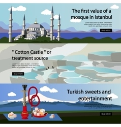 Travel to turkey banner set turkish vector