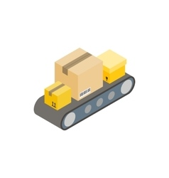 Conveyor belt with boxes icon isometric 3d style vector