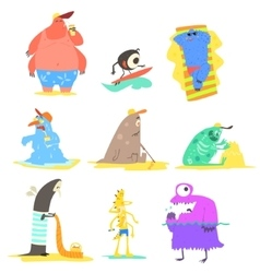 Monsters on the beach collection vector