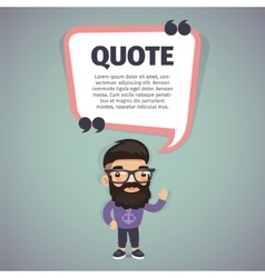 Quote Speech Banner and Hipster vector image