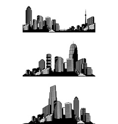 Set of black and white panorama cities art vector