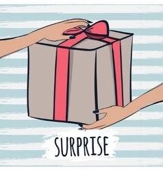Box with gifts and surprises for the greetings vector