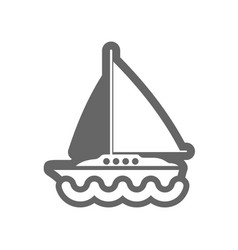 boat with a sail outline icon summer vacation vector image vector image