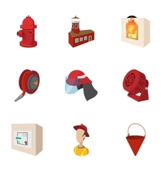 Burning icons set cartoon style vector