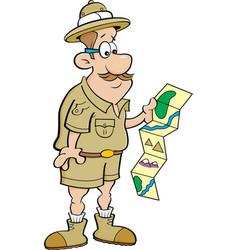 Cartoon explorer looking at a map vector