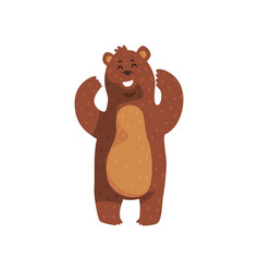 Cheerful grizzly bear standing with paws up vector