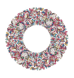 Circle frame wreath design made of doodle vector