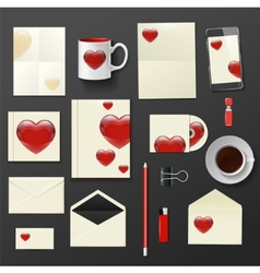 Company corporate style with heart template design vector