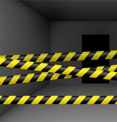 Dark room with danger tape vector