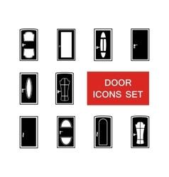 Door set with red signboard vector
