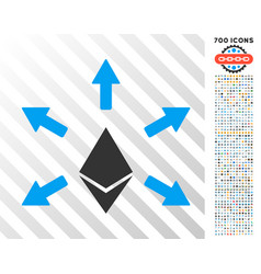 Ethereum emission flat icon with bonus vector