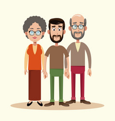 father with grandparents family vector image vector image
