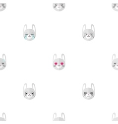 flat cartoon rabbit heads with different vector image