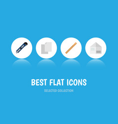 flat icon stationery set of knife sheets vector image vector image