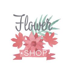 Flower shop logo label in vintage style for vector