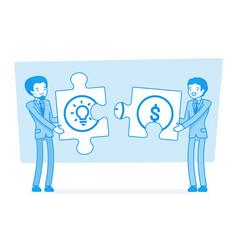 Idea and money puzzle vector
