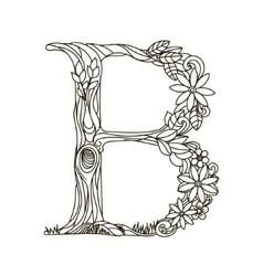 Letter B coloring book for adults vector image vector image