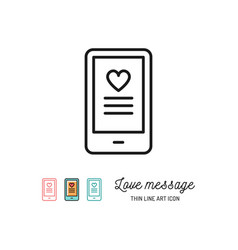 Love sms or romantic message icons mobile chat vector
