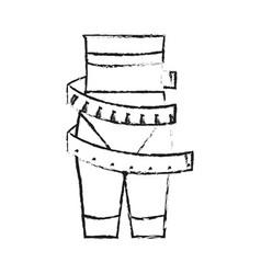 Measuring tape around thin woman waist weight loss vector