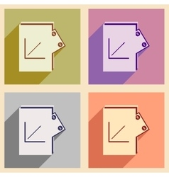 Modern collection flat icons with shadow financial vector