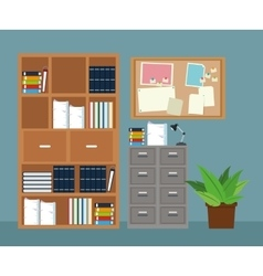 office furniture cabinet file potted plant notice vector image