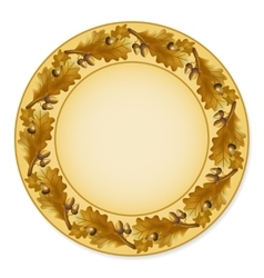 Plate with oak leaves vector