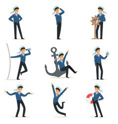 sailor character doing his job set seaman in vector image