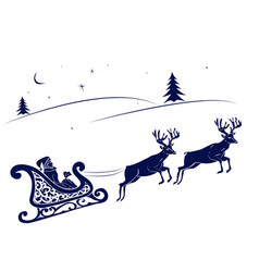 santa claus and deer flying vector image vector image